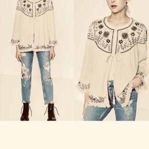 NEW Zara Boho Embroidered Sequined Gauze Jacket M